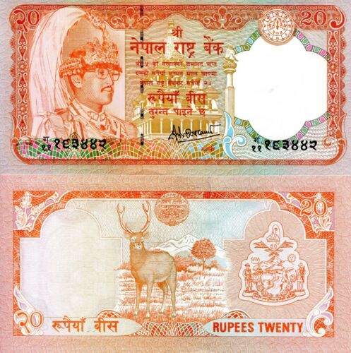 NEPAL 20 Rupees Banknote World Paper Money UNC Currency Pick p-38b Bill Note