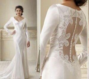 SPLENDID-Twilight-Bella-Long-sleeves-Wedding-dresses-V-Neck-Bridal-Gown-Custom