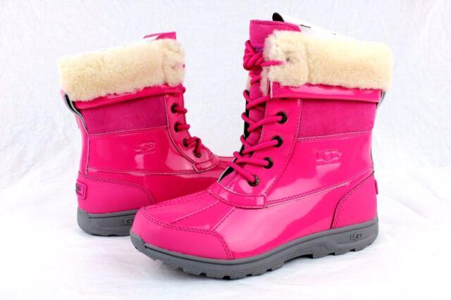 b6e835d0a49 Kids UGG Australia Butte II Patent Waterproof BOOTS Sz 5 Youth Pink Casual 5