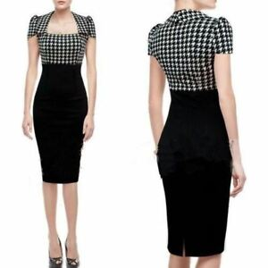 UK-WOMEN-ROCKABILLY-DOGTOOTH-CHECK-OFFICE-PENCIL-MIDI-DRESS-SIZE-8-20