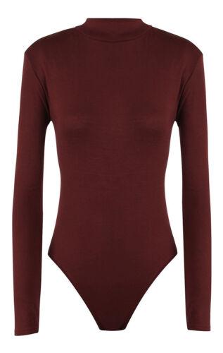 Royaume-Uni Pour Femme Femmes Manches Longues Uni Extensible Col Polo Body Justaucorps Look Tops