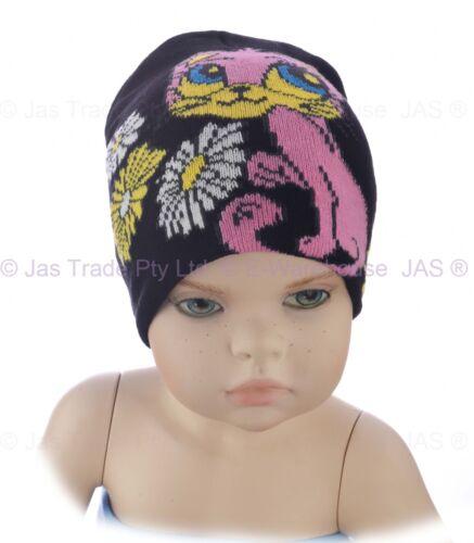 Kids Child Toddler Girl Animal Beanie Hat Ear Head Cover Floral Cat Kitty Kitten