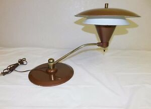 Image is loading Mid-Century-Modern-1950s-UFO-Desk-L&-Atomic- & Mid Century Modern 1950s UFO Desk Lamp -- Atomic Age lighting at its ...
