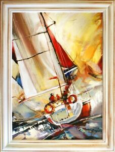 Painting-Sport-Yacht-Storm-Handmade-Oil-Picture-Ships-Frame