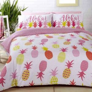 ALOHA-PINEAPPLES-POLKA-DOTS-PINK-COTTON-BLEND-SINGLE-DUVET-COVER