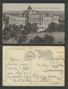 1908-CONGRESSIONAL-LIBRARY-WASHINGTON-DC-POSTCARD-No-postage-stamp