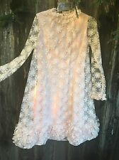 Vintage EMMA DOMB Pink Dress Flowers Hippie Summer Fun Tulle Shift Party Spring