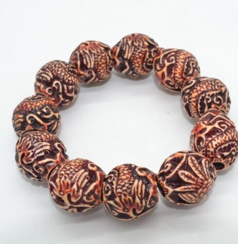 Homme Cool sculpté dragon Phoenix Perles Yak Bone Biker Stretch bracele