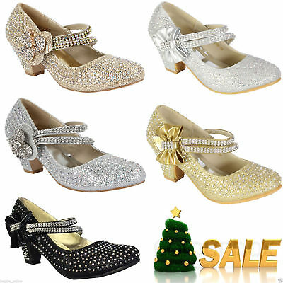 321ca7027d4 GIRLS CHILDRENS KIDS HIGH MID HEEL DIAMANTE PARTY SHOES BRIDESMAID SANDALS  SIZE | eBay