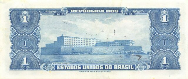 Brazil  1  Cruzeiro  ND. 1944   P 132a  Series 355A  Circulated Banknote NY1217S