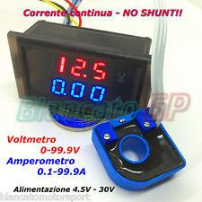 2IN1 DC AMPEROMETRO 0-100A CON SENSORE HALL VOLTMETRO 0-100V da pannello ammeter