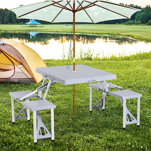 Patio Furniture Set 4piece Bamboo, Outdoor Patio Table And Chairs With Umbrella Hole