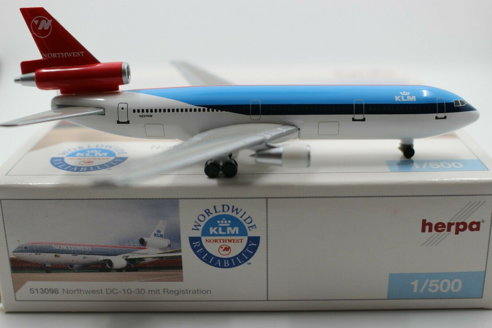 Herpa Wings CLUB 1 500 Northwest KLM DC-10-30 Mixed Colours (513098) Limited Ed.
