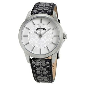 Coach-Women-Classic-Signature-Black-Leather-Monogram-Silver-Steel-Watch-14501524