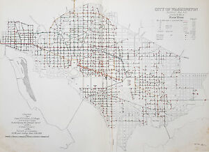1880 F V Greene Grandes Antiguo Mapa De La Ubicacion De La Red De