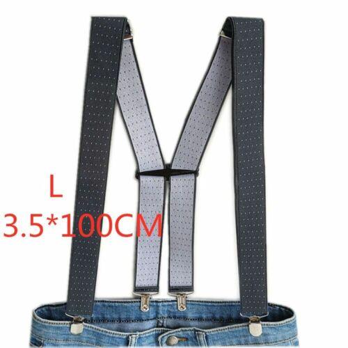 Men Suspenders Polka Dot Adjustable Braces H Back Elastic Party Clip Pants Solid