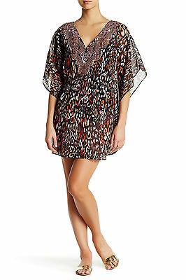 NWT $122 L MIRACLESUIT Swimsuit Animal Cover Up Caftan Cat's Meow Embellished