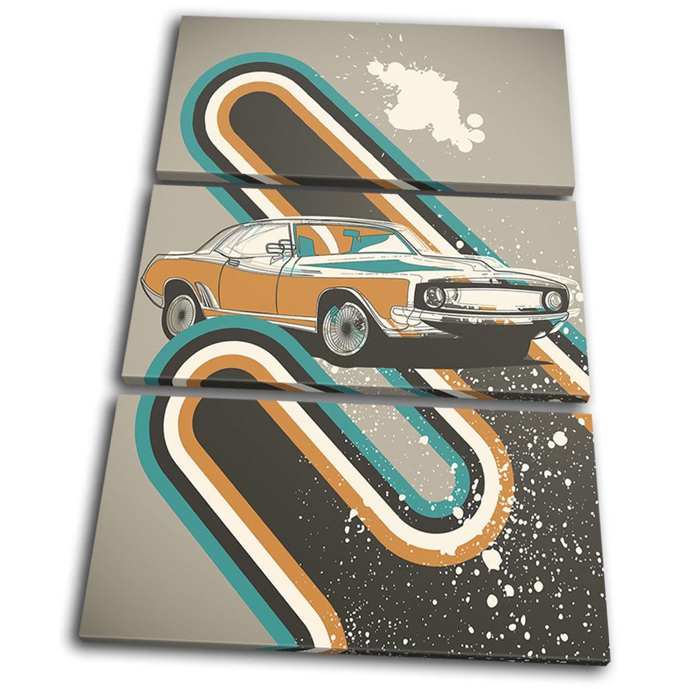 Car Classic Retro Garage Transportation TREBLE TELA parete parete parete arte foto stampa 634b2f
