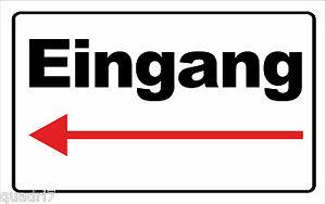 wetterfestes-Schild-Eingang-mit-Pfeil-nach-Links-RESTPOSTEN