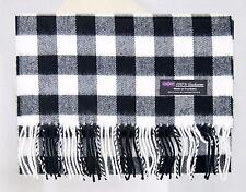 100% CASHMERE Winter Scarf Black White Check Plaid Warm Soft SCOTLAND Wool (NJC)