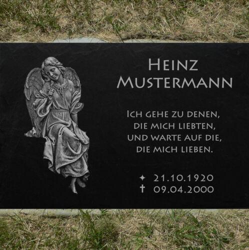 Grabstein Grabtafel Granit Stütze ►Wunschgravur◄ Rahmen-01 Grabmal 30x20 cm