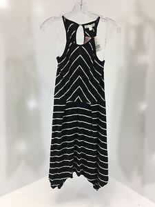 a899592eac LOVE FIRE WOMENS ASYMMETRIC HEM STRIPED FIT   FLARE DRESS BLACK ...
