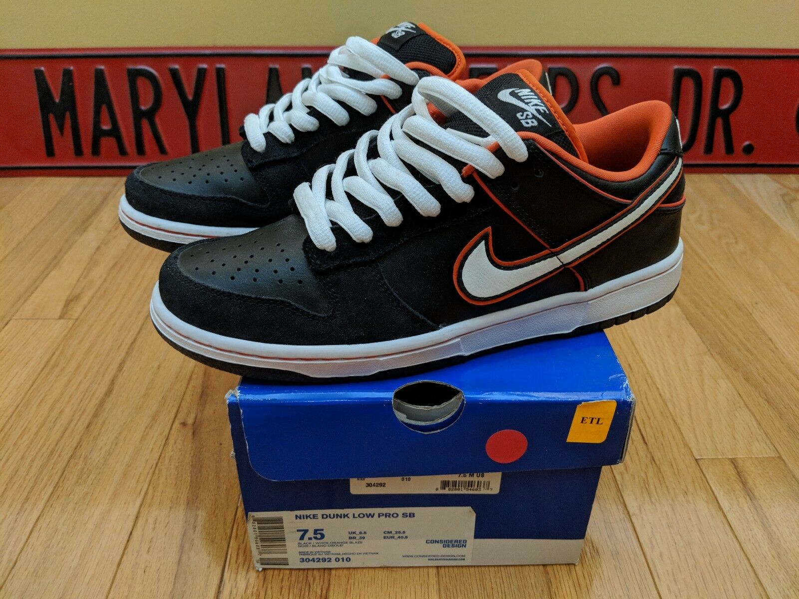 Nike Dunk Low Pro SB Giants Size Orange Blaze 304292-010 Mens Size Giants 7.5 Rare VNDS 093203