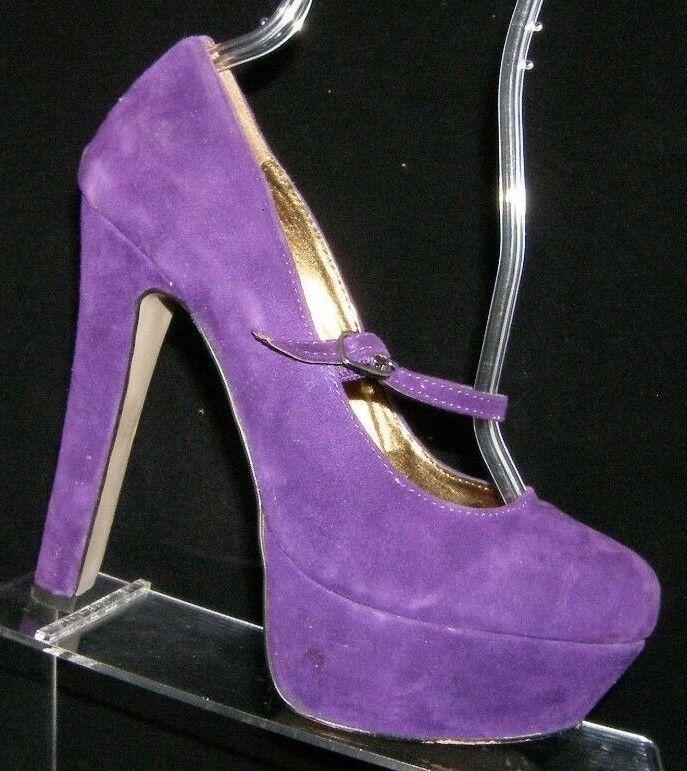 ALDO 'Flavell' purple suede round toe buckle mary jane platform heels 7.5 EU 38