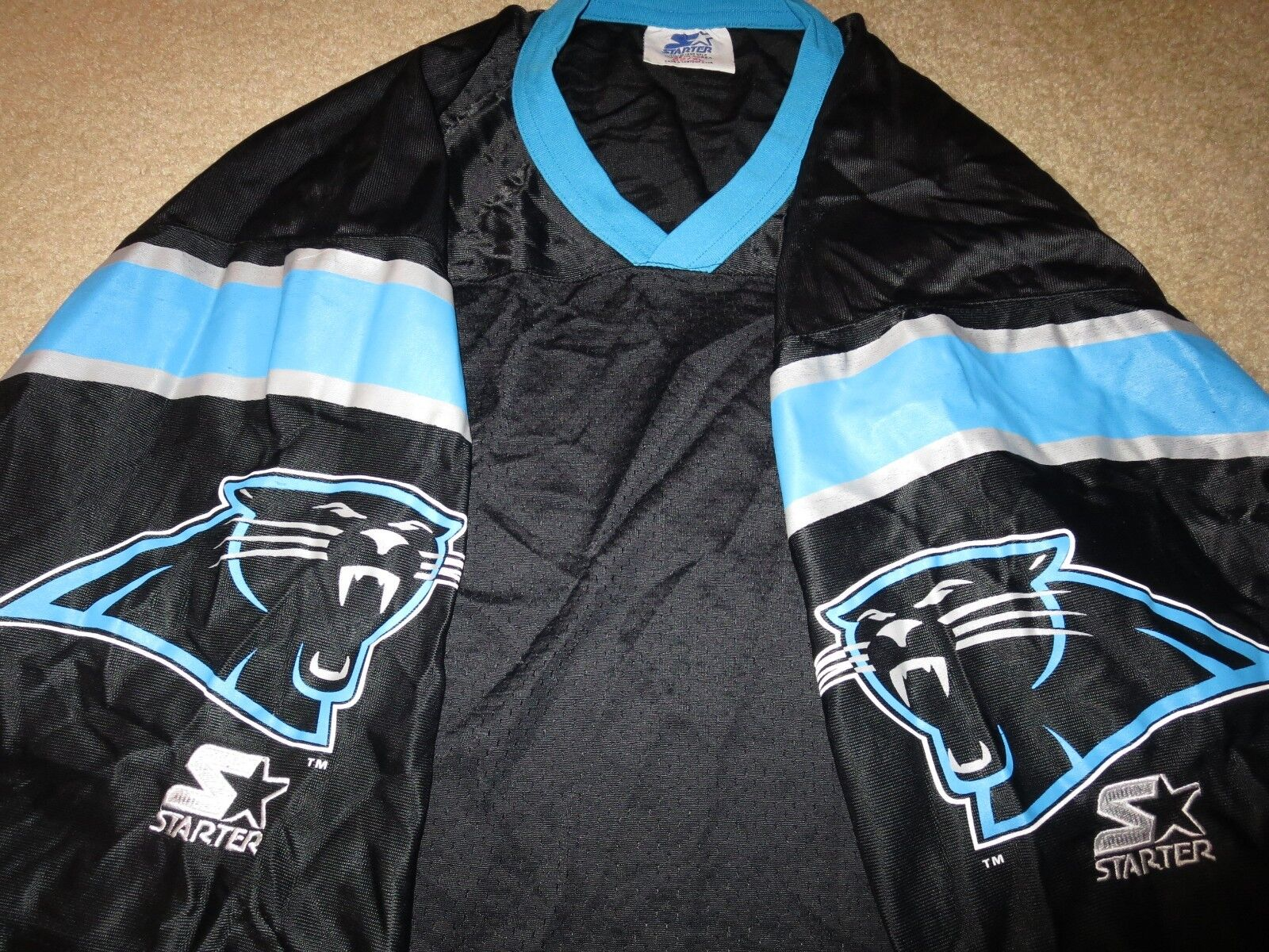 Carolina Panthers Super Bowl Schwarz Starter NFL Trikot XL 52
