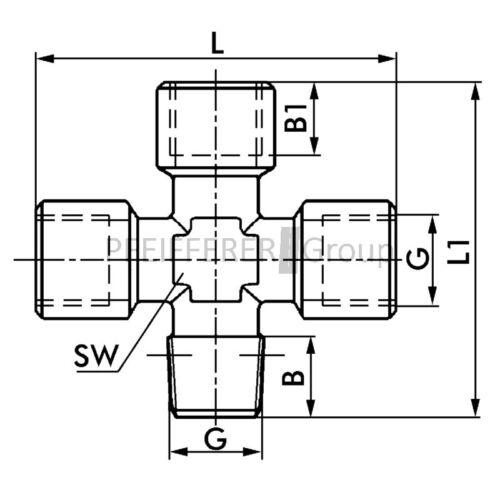 Fitting Messing Kreuzstück  F-KEk-3//8-MSv Kreuz-Stück