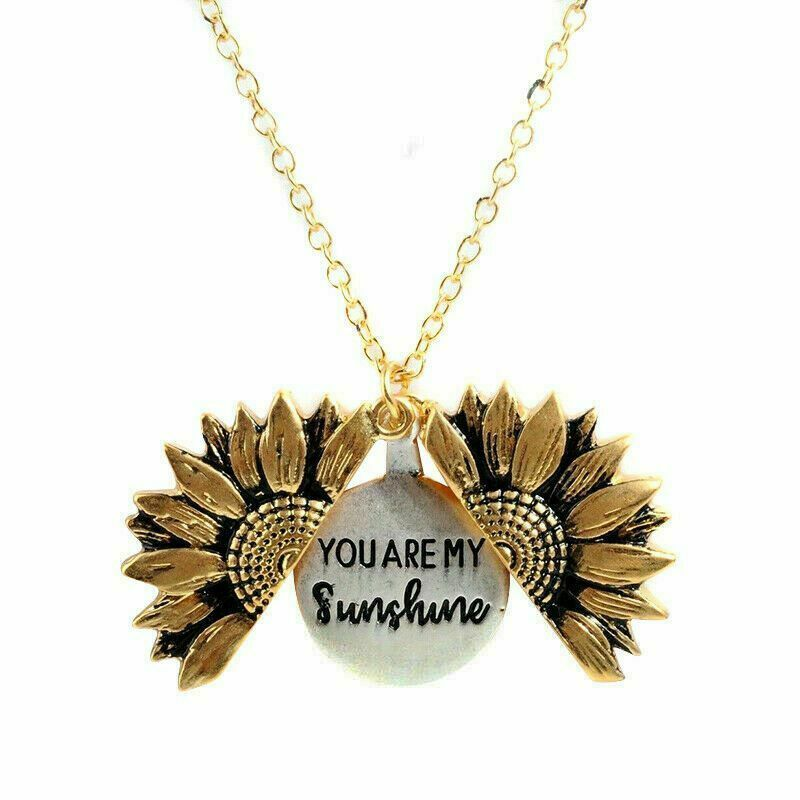 KKHUIO Sunflower Gifts For Friends Silver Sunflower Necklace You Are My Sunshine Sunshine Engraved Pendant Sunshine Necklace