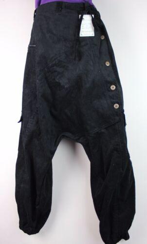 Pantaloni polsino in Velluto a Coste Jeans Retro Baggy Hippy Boho Harem Pantaloni Aladino Casual P1