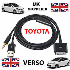 TOYOTA VERSO iPhone, iPod USB & Aux 3.5mm Cable Replacement in black