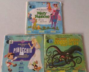 VINTAGE WALT DISNEY Lot Large Vinyl Records - Pinocchio Mary Poppins, 20,000