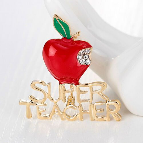 Heart Pendant Keyring With Apple Charm Necklace Gift Teachers Keychain Key Ring