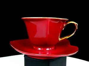 """CLASSIC COFFEE & TEA CHINA PORCELAIN HEART SHAPED MAROON 2 1/2"""" CUP AND SAUCER"""