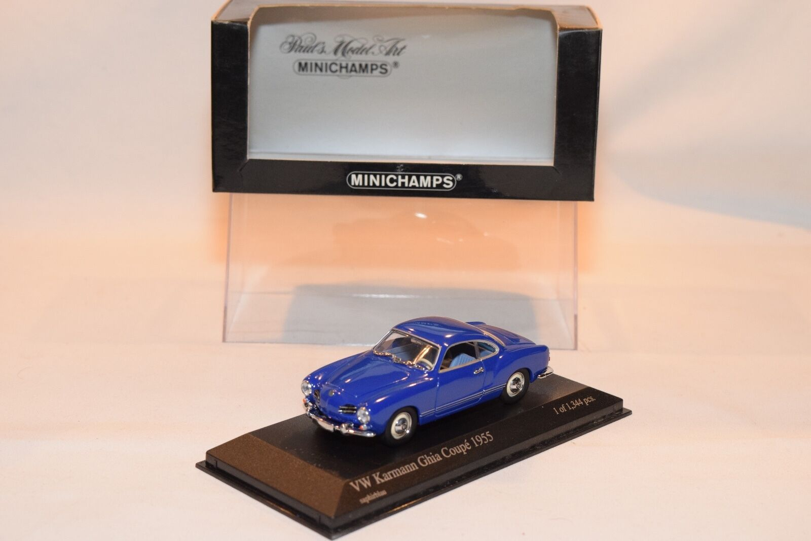 MINICHAMPS VW VOLKSWAGEN KARMANN GHIA COUPE 1955 SAPHIRblue blueE MINT BOXED