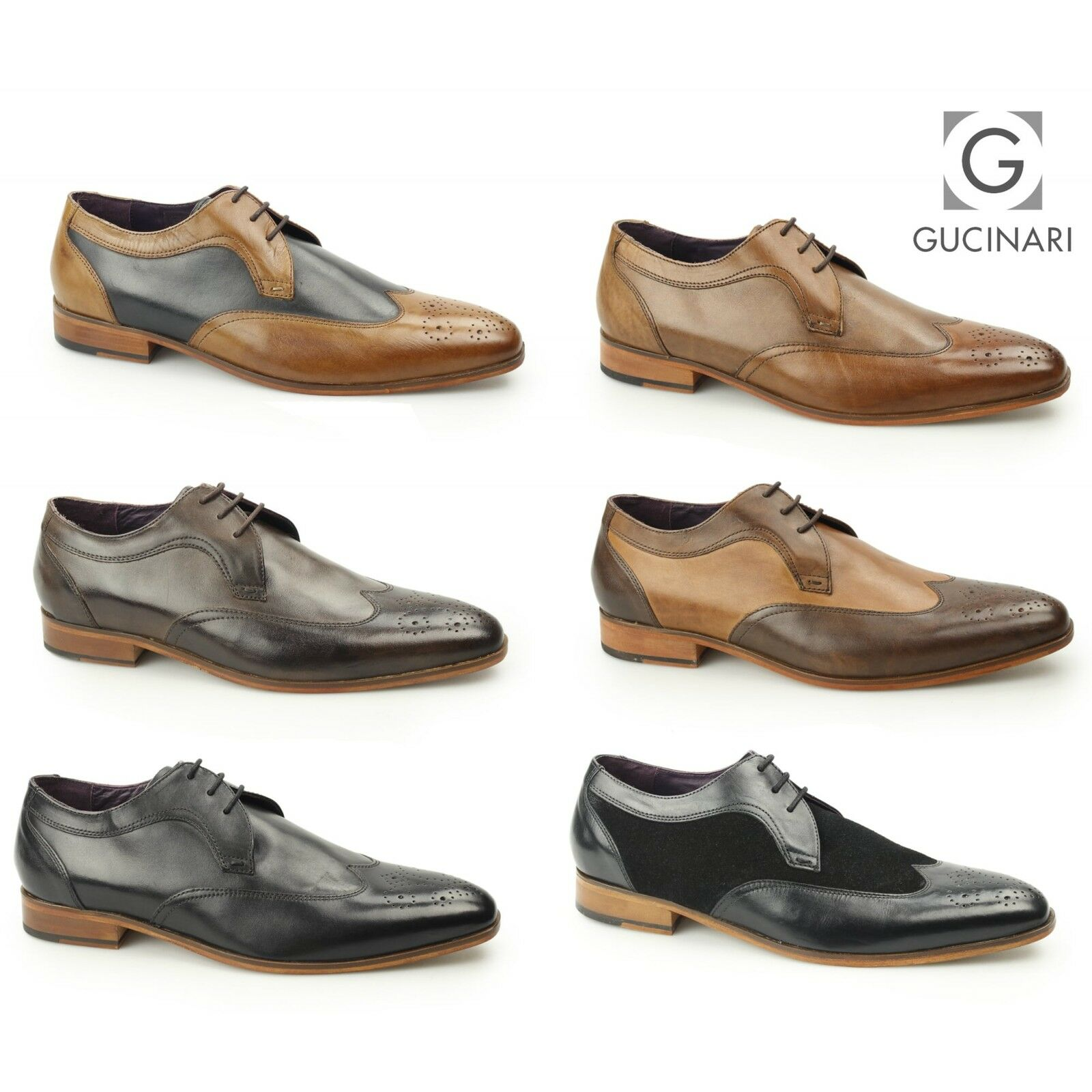 Gucinari MILLE Mens Leather Formal Smart Evening Wingtip Contrast Derby Brogues