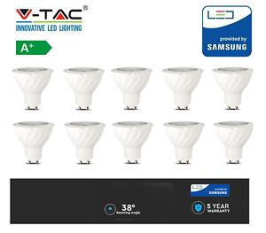 4 10 x V-TAC 7W GU10 SPOTLIGHT WITH SAMSUNG CHIP COLOR 3000k 4000K or 6400k