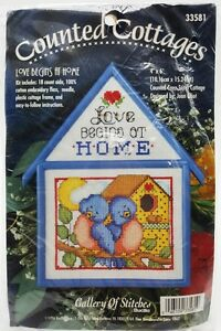 Counted-Cross-Stitch-Bluebird-Birdhouse-Kit-Love-Begins-at-Home-Vintage-New
