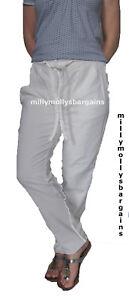 New-Womens-White-Linen-NEXT-Trousers-Size-12-10-8-6-Long-Regular-Petite