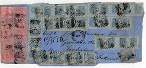 1868-ITALY-TO-SCOTLAND-COVER-42-STAMPS-MAXIMUM-KNOWN-VACCARI-CERTIFICATE