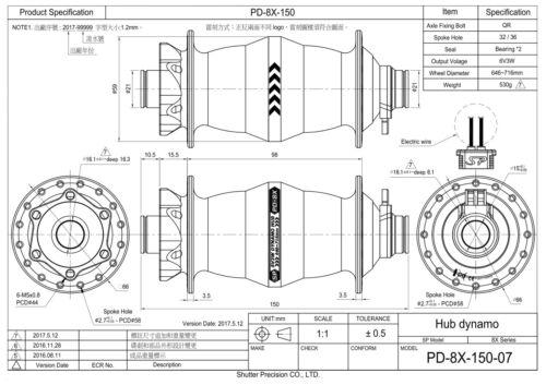 hub dynamo Shutter Precision PD-8X-150 For Fat Bikes! SP dynohub QR15