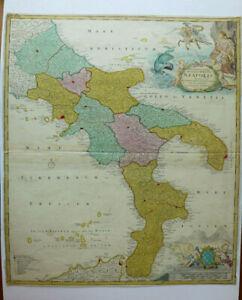 Mappa Napoli Puglia.Regno Di Napoli Homann Atlante Sud Italia Puglia Avellino Calabria Salerno Ebay