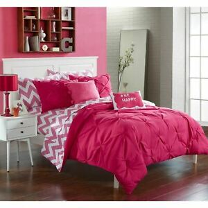 Pink-White-Pintuck-Pleat-Chevron-Zig-Zag-9-pc-Comforter-Set-Twin-XL-Full-Bedding