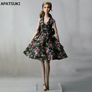 Black-Flower-Countryside-Floral-Dress-For-Barbie-Doll-Clothes-Evening-Dress-1-6