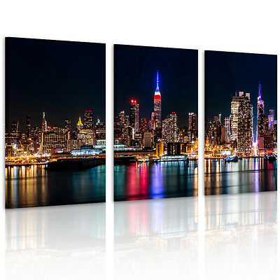 """Modern Picture """"New York Port Night"""" HD Canvas Print Wall Art Paintings Unframed"""