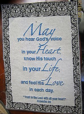 May You Hear God's Voice In Your Heart Tapestry Pillow Top Fabric Piece