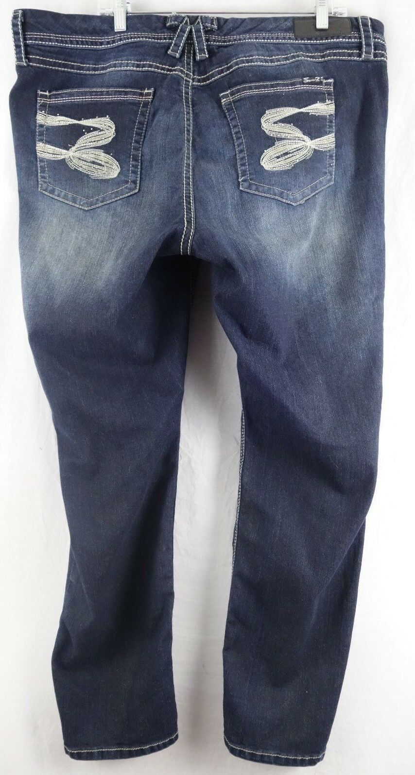 Seven7 Luxe Womens Jeans Skinny Denim Pants Sparkly Glitter Plus 20
