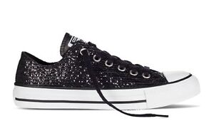 116ef9c6c33f NEW CONVERSE CHUCK TAYLOR ALL STAR BLING BLACK SILVER LOW WOMEN ...